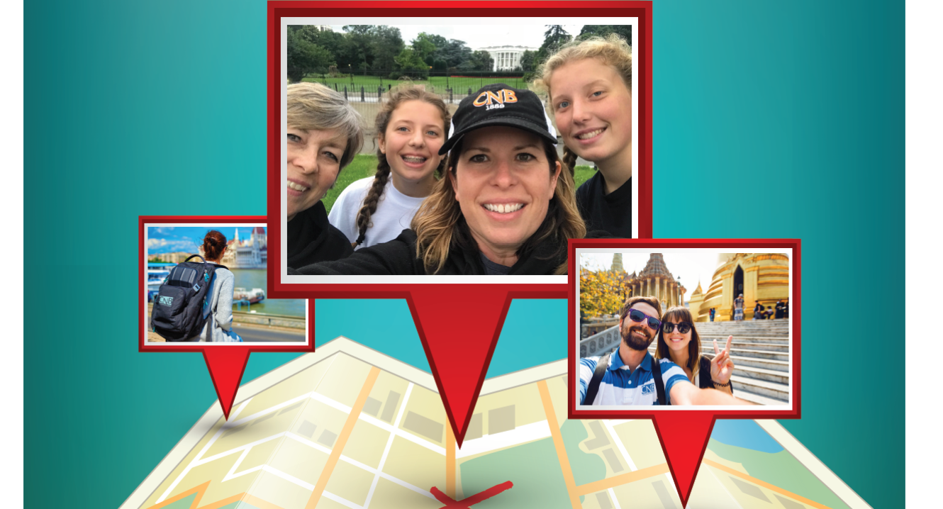 "Customer selfies wearing their CNB hats for the ""Where in the World Are You and CNB"" summer travel contest."