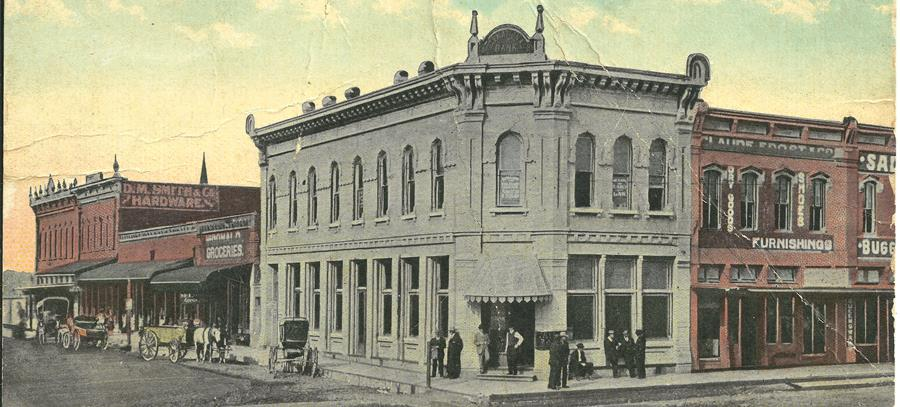 Historical picture of the original City National Bank building in Sulphur Springs.